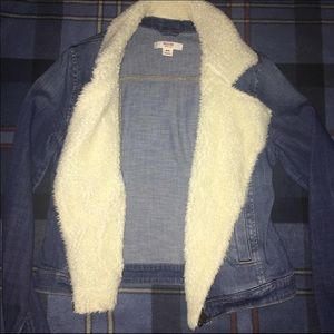Denim blue jean jacket with fur